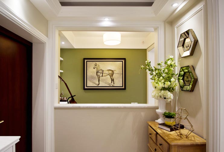 清新美式玄关 吧台背景墙设计图片