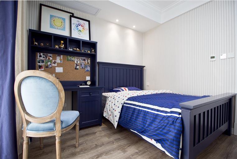 经典复古美式 深蓝色儿童房设计