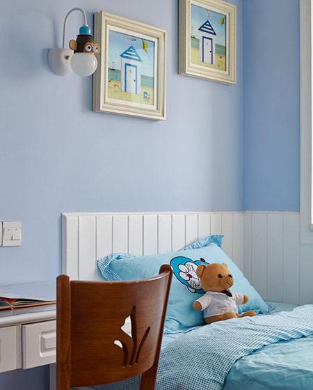 唯美蓝色美式儿童房布置图