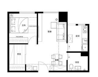 60㎡简约风单身公寓设计平面图