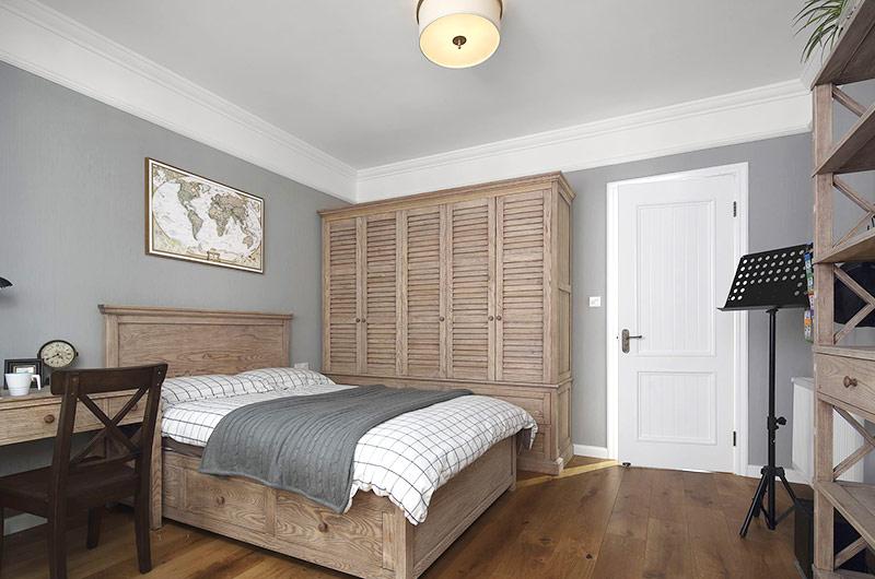 129平美式风格公寓次卧室实景图