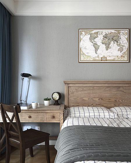 时尚灰色系美式 卧室床头效果图
