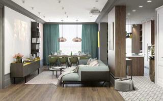 混搭风格公寓客厅吊顶装修