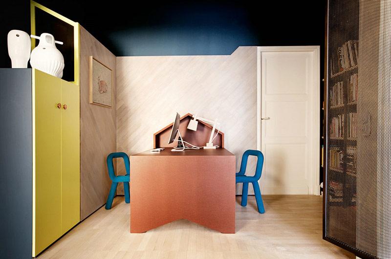180平公寓改造装修书房实景图