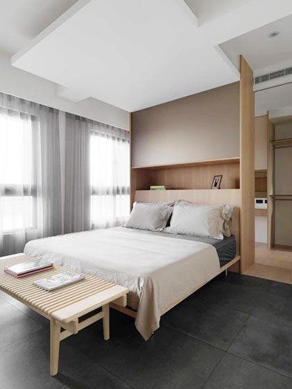 80㎡现代单身公寓卧室装修图