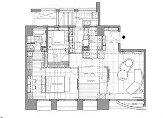 80㎡现代单身公寓平面图