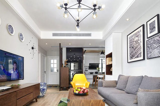 68平简约三居室客厅效果图