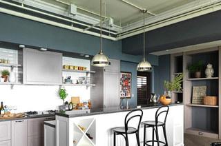 125平北欧婚房装修厨房吧台图片