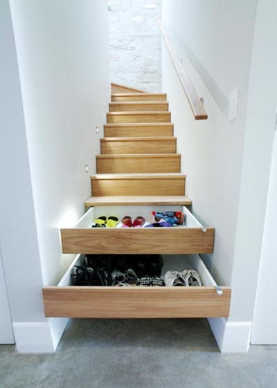 楼梯间收纳布置摆放图