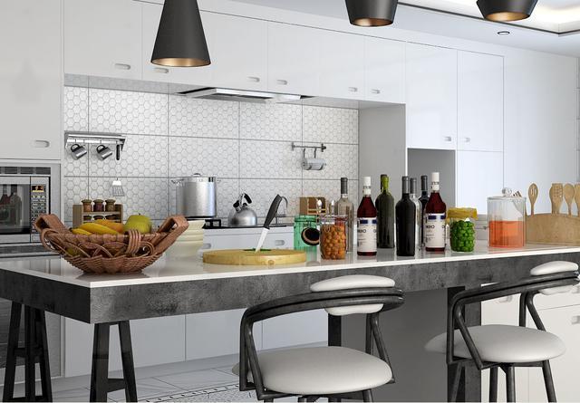 厨房装修墙砖最好以浅色为主,地砖则选择偏深颜色与之配搭。倘若追求协调统一的视觉效果,厨房瓷砖的颜色最好和橱柜同属一色系。如果喜欢较强的视觉冲击效果和时尚前卫风格,瓷砖颜色最好和橱柜颜色有反差,可以是对比色,这样能让两者相得益彰。 五、厨房装修瓷砖要小规格