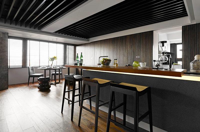 工业风混搭 黑色厨房吧台效果图