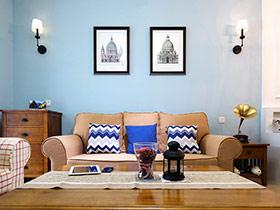 清新美式田园风 天蓝色公寓设计