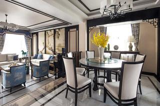 新中式风格别墅餐厅装潢设计图
