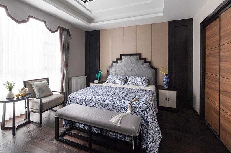 时尚新中式风格主卧室效果图