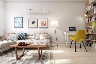清新宜家木质客厅白色小沙发效果图_齐家网装修效果图