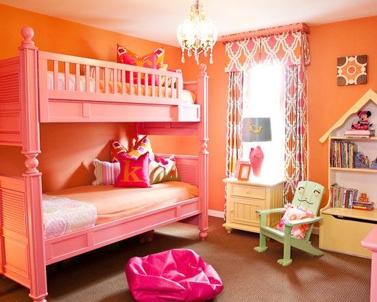 儿童房高低床装饰图片