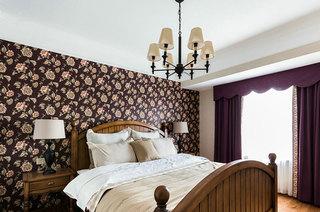 乡村美式田园风卧室 碎花背景墙欣赏