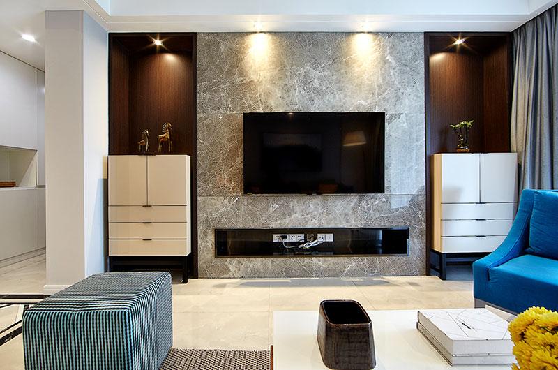 138平简约公寓电视背景墙设计