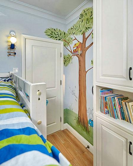 活力美式儿童房手绘背景墙设计