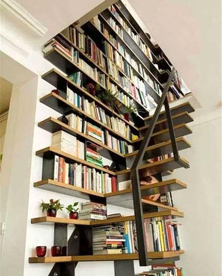 创意楼梯书架效果图