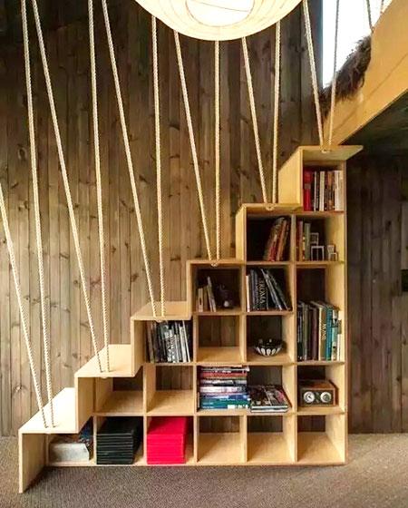 楼梯收纳书架效果图装修