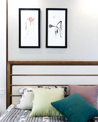 350平中式风格别墅卧室装饰画
