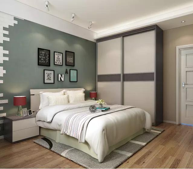 主卧电视柜与梳妆台的一体式设计,撞色设计一脉相承, 风格统一和谐图片