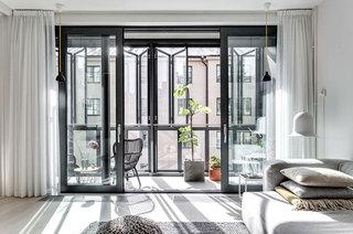 100平北欧风格公寓客厅阳台隔断图