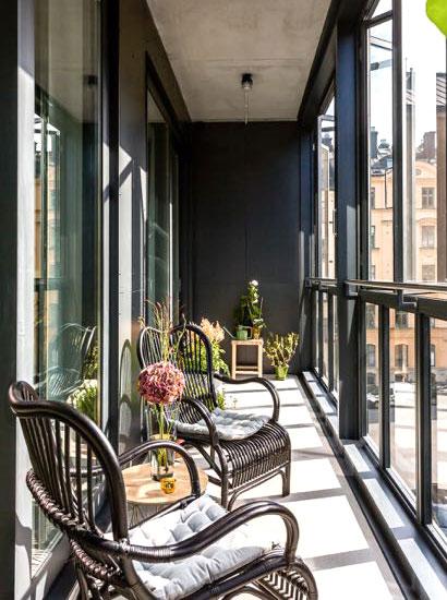 100平北欧风格公寓阳台装饰图