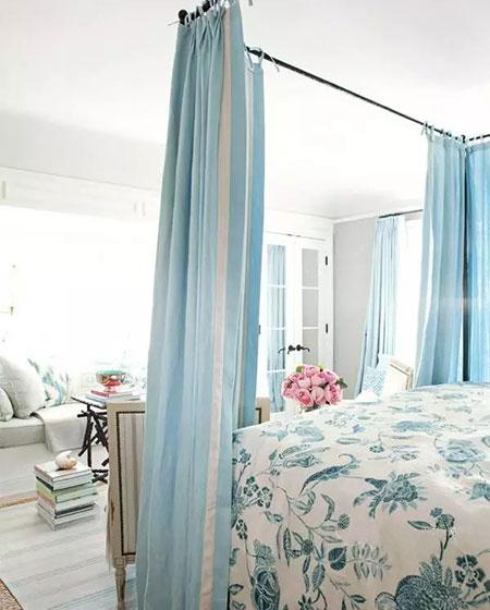 清新美式风格卧室床幔图片