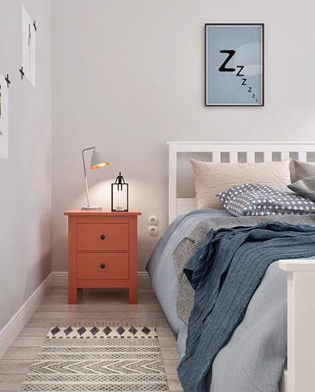 北欧公寓小户型装修床头柜图片