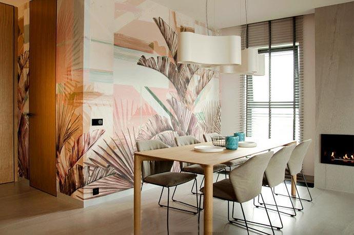 唯美浪漫新中式餐厅 背景墙效果图