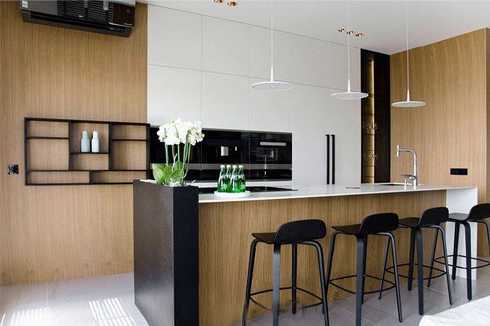 简约新中式 开放式厨房吧台设计