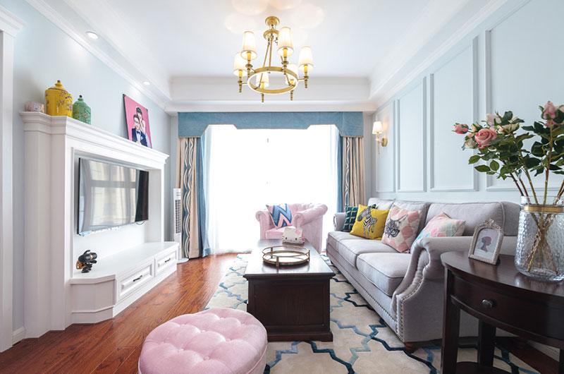 90平美式风格两室两厅效果图-装修效果图案例 2017年装修效果图 齐家