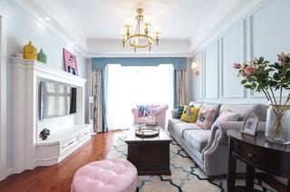 清新粉嫩美式客厅效果图