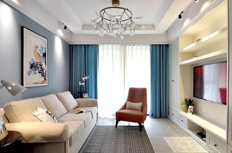 清新蓝色美式客厅装饰大全