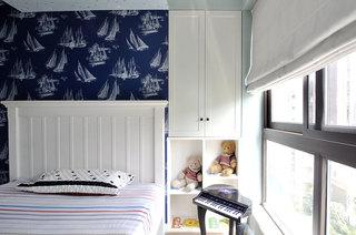 清爽现代美式 儿童房床头效果图