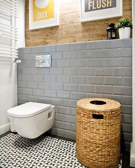 卫生间藤编脏衣篮收纳设计