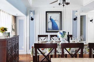 170平美式四房餐厅背景墙装饰画