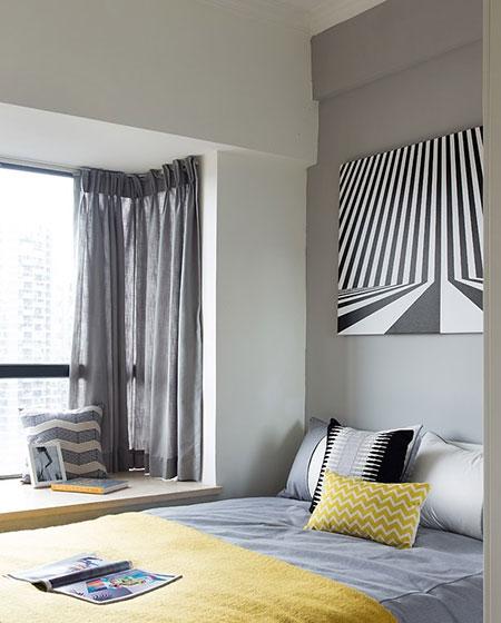 21平一室一厅装修卧室床品图片