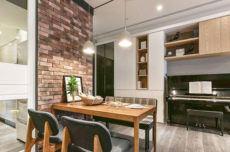 160平简约风格三居餐厅石材背景墙