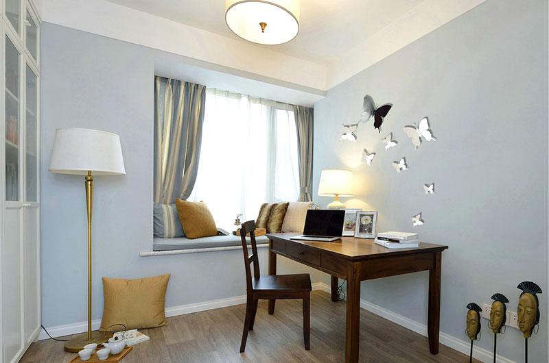 130平美式风格公寓书房装饰图