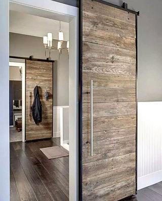 过道装修装饰木质谷仓门设计