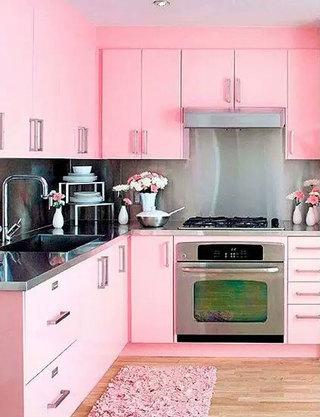 可爱粉色系厨房装修效果图
