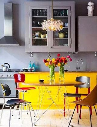 厨房装修黄色橱柜设计
