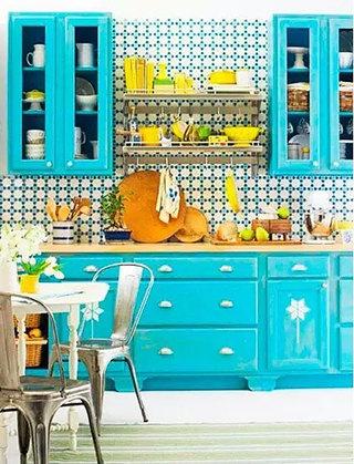 清新厨房蓝色橱柜的效果图