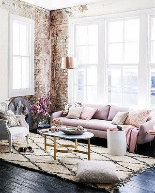 客厅休闲粉色沙发效果图大全