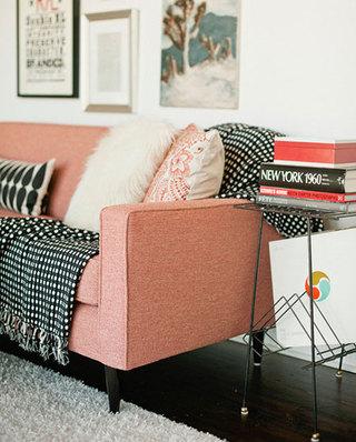 简约粉色布艺沙发效果图