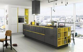 简约黄色厨房设计平面图