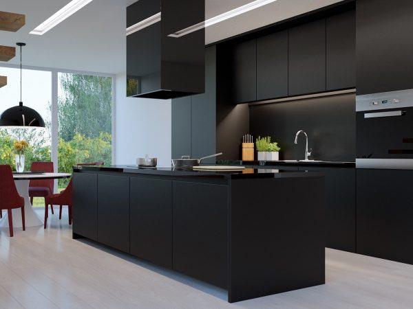 纯黑现代简约厨房案例图
